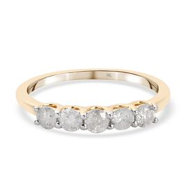 9K Yellow Gold SGL Certified Diamond (I3/G-H) 5-Stone Ring 0.50 Ct.