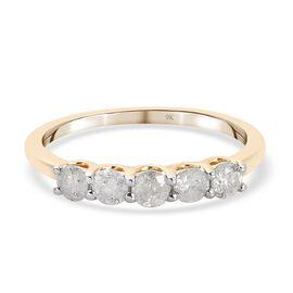 9K Yellow Gold SGL Certified Diamond (I3/G-H) 5-Stone Ring 0.50 Ct.