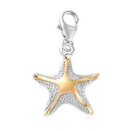 Platinum and Yellow Gold Overlay Sterling Silver Starfish Charm