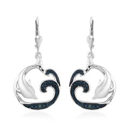 Blue Diamond (Rnd) Dolphin Earrings (with Lever Back) in Blue and Platinum Overlay Sterling Silver 0.020 Ct.
