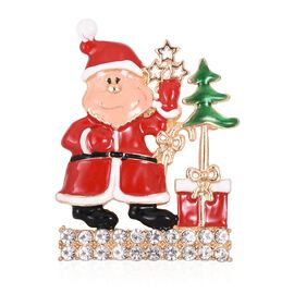 White Austrian Crystal (Rnd) Santa Claus with Christmas Tree Brooch/ Pendant in Gold Tone