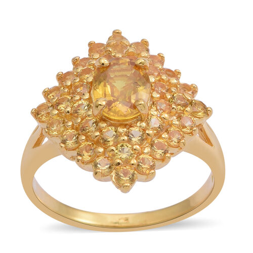Chanthaburi Yellow Sapphire (Ovl 1.60 Ct) Cluster Ring in 14K Gold Overlay Sterling Silver 4.120 Ct.