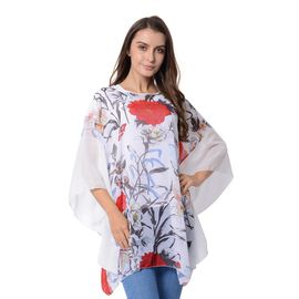 New for Season -  White Colour Flower and Butterfly Pattern Poncho (Size 90x80 Cm)
