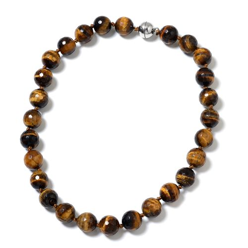 Very Rare Size Tigers Eye Ball Necklace (Size 20) with Magnetic Clasp in Rhodium Plated Sterling Sil