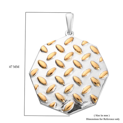 Platinum and Yellow Gold Overlay Sterling Silver Pendant, Silver wt 8.00 Gms
