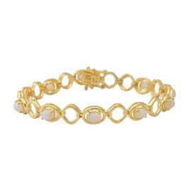 3 Carat Ethiopian Welo Opal Station Bracelet in Gold Plated Sterling Silver 7.5 Inch