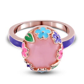 GP Italian Garden Leaf and Flower - Pink Opal and Blue Sapphire Enamelled Ring in Rose Gold Sterling