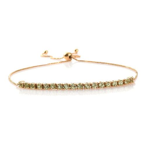 Hebei Peridot (1.25 Ct) 14K Gold Overlay Sterling Silver Bracelet (Size 7.5)  1.250  Ct.