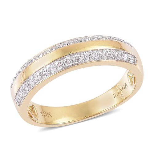ILIANA 18K Yellow Gold IGI Certified Diamond (Rnd) (SI G-H) Band Ring 0.500 Ct.
