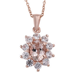 Marropino Morganite (Ovl), Natural Cambodian Zircon Pendant With Chain in Rose Gold Overlay Sterling