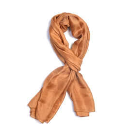 New Season -100% Mulberry Silk Golden Colour Scarf (Size 180X100 Cm)
