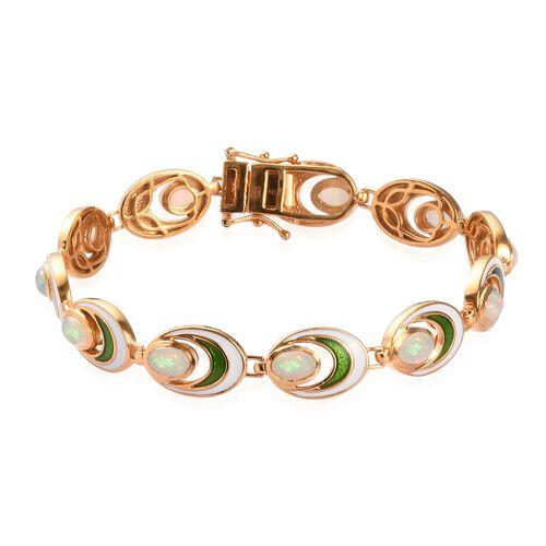 Ethiopian Welo Opal Bracelet (Size 7) in 14K Gold Overlay Sterling 3.25 Ct, Silver wt. 15.70 Gms