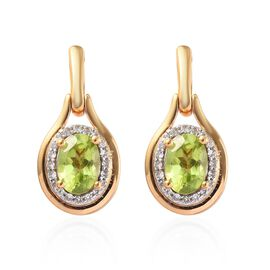 Hebei Peridot and Natural Cambodian Zircon Drop Earrings (with Push Back) in 14K Gold Overlay Sterli