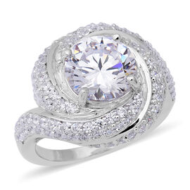 ELANZA Swiss Star Simulated Diamond Swirl Halo Ring in Rhodium Plated Silver 7.93 Grams