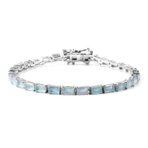 8.25 Ct Grandidierite Tennis Bracelet in Rhodium Plated Silver 8.80 Grams 7 Inch