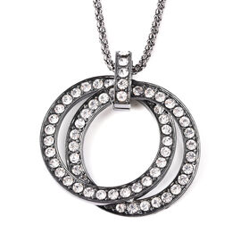 White Austrian Crystal (Rnd) Double Ring Pendant with Chain (Size 28 with 3 inch Extender) in Black