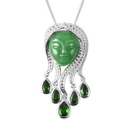 Carved Green Jade (14x12), Russian Diopside Mother Nature Pendant with Chain (Size 18) in Rhodium Ov