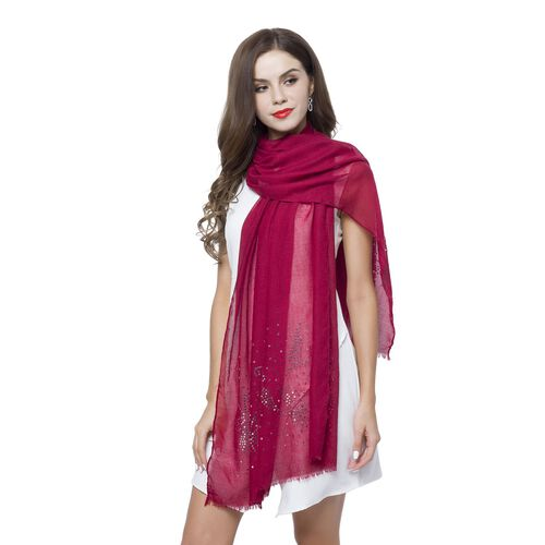 Silver Sequins Embellished Burgundy Colour Butterfly Pattern Scarf with Fringes (Size 180X70 Cm)