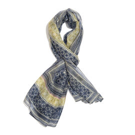 100% Mulberry Silk Navy, Grey and Multi Colour Handscreen Flower Pattern Scarf (Size 180x90 Cm)