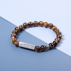 Engravable Bar Tiger Eye Beads Bracelet Size 7-7.5Inch