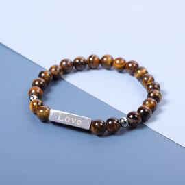 Engravable Bar Tiger Eye Beads Bracelet Size 7-7.5Inch