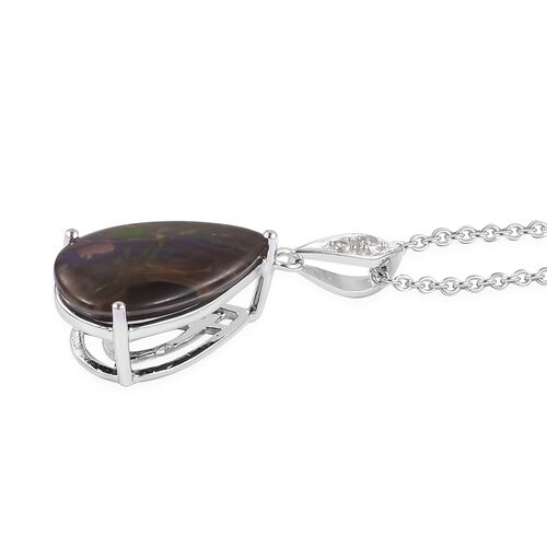 AA Canadian Ammolite (Pear 18x11mm), Natural White Cambodian Zircon Drop Pendant with Chain in Rhodium and Platinum Overlay Sterling Silver 4.270 Ct.