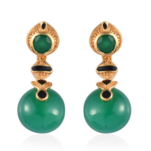 Verde Onyx Enamelled Earrings (with Push Back) in 14K Gold Overlay Sterling Silver 18.00 Ct, Silver