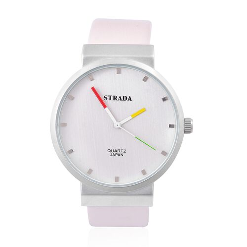 STRADA Japanese Movement Water Resistant Watch in Silver Tone with Stainless Steel Back and Cream Colour Strap