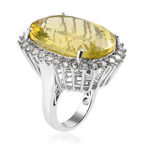 Natural Ouro Verde Quartz (Ovl), Natural White Cambodian Zircon Ring in Platinum Overlay Sterling Silver 58.75 Ct, Silver wt 12.70 Gms