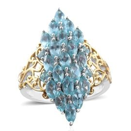 Paraiba Apatite (Mrq) Ring in Platinum and Yellow Gold Overlay Sterling Silver 3.500 Ct.