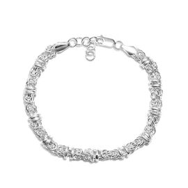 Byzantine Chain Bracelet in Platinum Plated Sterling Silver 20.08 Grams 7.5 with 1 inch Extender