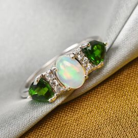 Ethiopian Welo Opal, Russian Diopside and Natural Cambodian Zircon  Ring in Platinum Overlay Sterlin