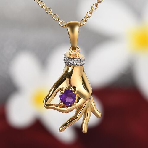 AA Amethyst Mudra Hand Pendant With Chain (Size 20) in Yellow Gold and Platinum Overlay Sterling Silver 0.25 Ct, Silver wt. 8.40 Gms