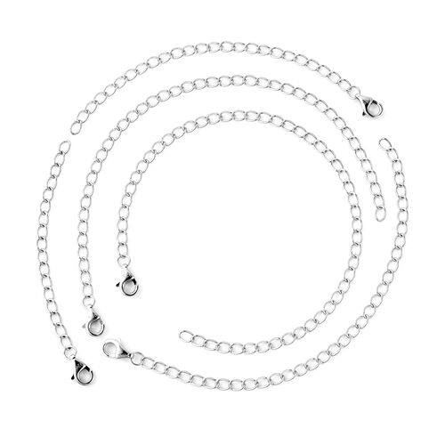 Set of 5 - Rhodium Overlay Sterling Silver Extender