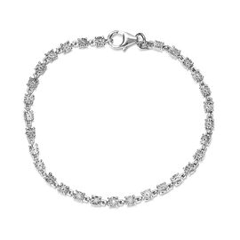 Diamond Bracelet (Size 7 with Extender) with Lobster Clasp in Platinum Overlay Sterling Silver