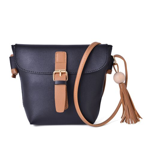 Black and Dark Beige Colour Crossbody Bag with Tassels and Shoulder Strap (Size 24.5x19x15.5x6 Cm)