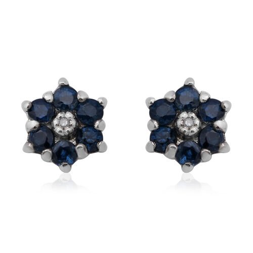 Kanchanaburi Blue Sapphire and Diamond Floral Stud Earrings in Rhodium Overlay Sterling Silver 1.00