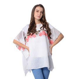 White and Multi Colour Butterfly and Flower Pattern Poncho (Size 90x70 Cm)