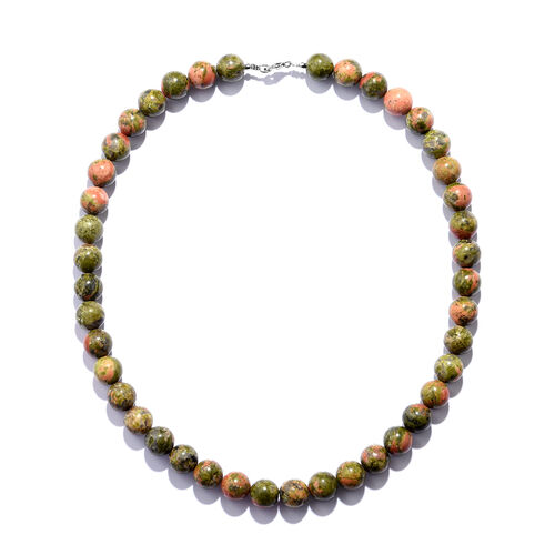 Special Close Out- Unakite (Round Bead 10 mm) Necklace (Size 18) in Rhodium Overlay Sterling Silver