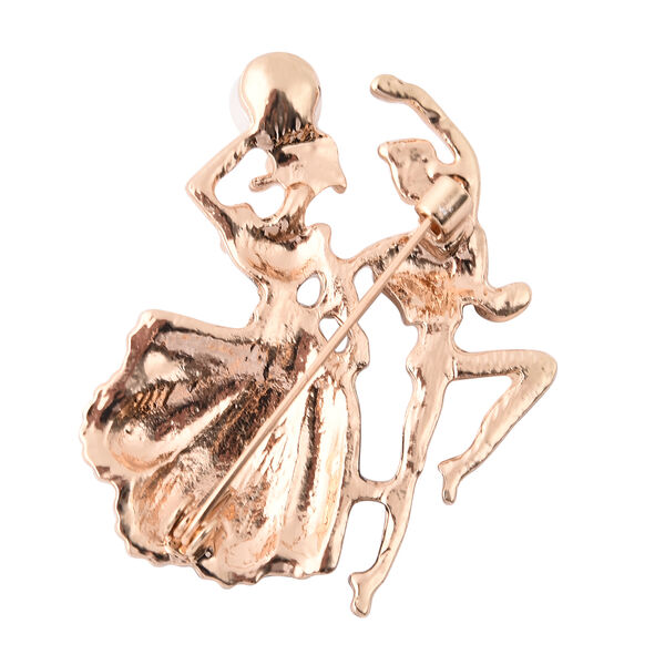 Simulated Pearl and White Austrian Crystal Enamelled Couple Brooch in Yellow Gold Tone