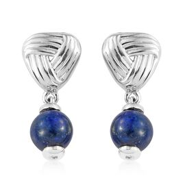 One Time Deal- Lapis Lazuli Knot Earrings (with Push Back) in Platinum Overlay Sterling Silver 4.750 Ct.