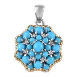 SLEEPING BEAUTY TURQUOISE (2.40 Ct),Cambodian Zircon Sterling Silver Pendant  2.500  Ct.