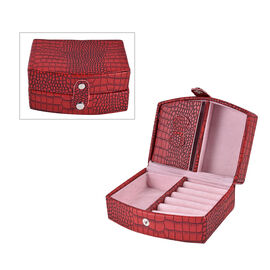 Burgundy Croc Embossed Pattern Jewellery Box with Button Clasp Lock (12x9x6.1cm)
