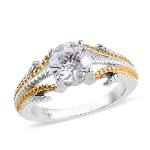 J Francis - Platinum and Yellow Gold Overlay Sterling Silver (Rnd) Ring Made with SWAROVSKI ZIRCONIA