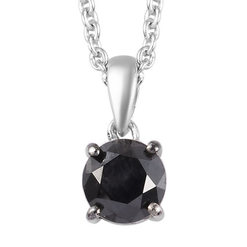 Black Diamond (Rnd) Solitaire Pendant With Chain (Size 18) in Platinum Overlay Sterling Silver 1.000