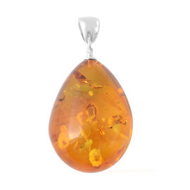 Baltic Amber Drop Pendant in Sterling Silver