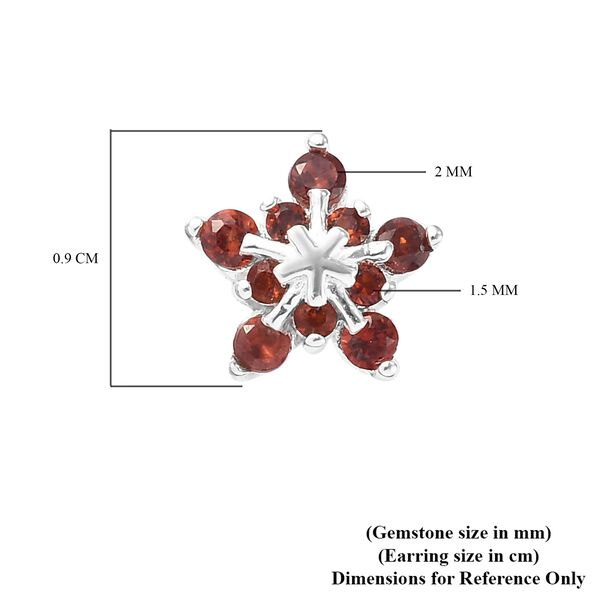 Mozambique Garnet (Rnd) Starburst Design Earrings (with Push Back) in Sterling Silver