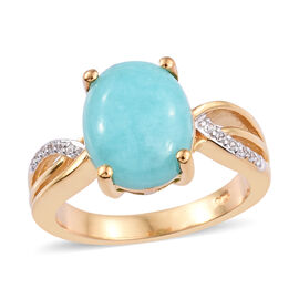 3.25 Ct Peruian Amazonite and Natural Cambodian Zircon Solitaire Design Gold Plated Ring in Sterling
