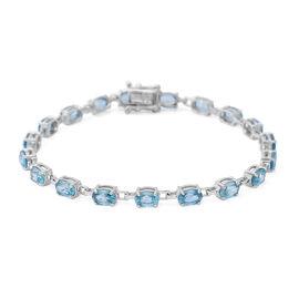 Ratnakiri Blue Zircon (Ovl) Bracelet (Size 7.5) in Rhodium Overlay Sterling Silver 14.06 Ct, Silver