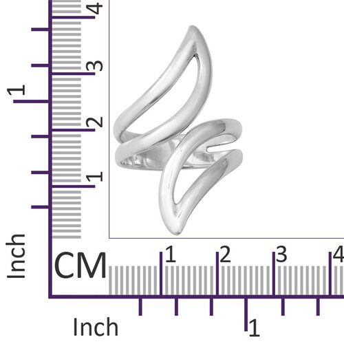 Designer Inspired Sterling Silver Bypass Ring, Silver wt 4.80 Gms